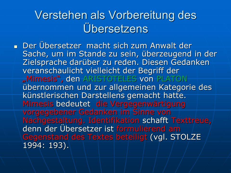 Verstehen als Vorbereitung des Übersetzens Ein Beispiel dafür, was Identifikation mit der Textmitteilung meint, zeigen die folgenden Übersetzungen eines Satzes aus Albert CAMUS Lhomme révolté, 1951.