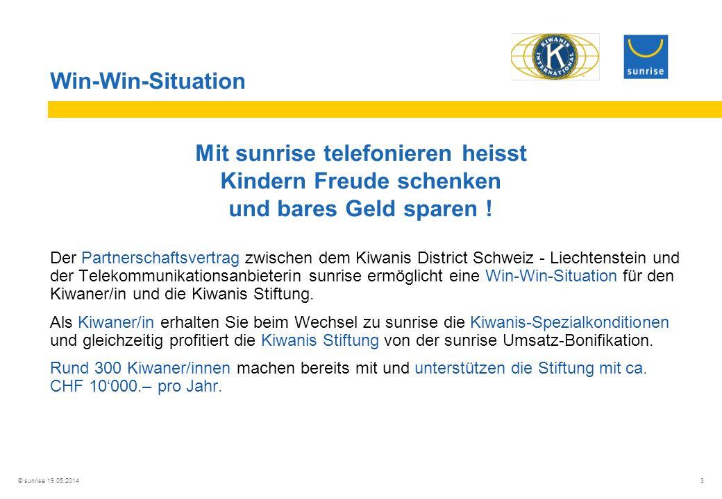 © sunrise 19.05.2014 3 Win-Win-Situation Mit sunrise telefonieren heisst Kindern Freude schenken und bares Geld sparen .