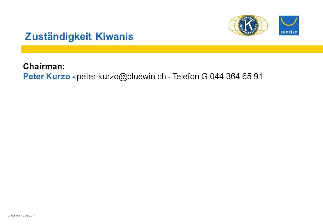 © sunrise 19.05.2014 Zuständigkeit Kiwanis Chairman: Peter Kurzo - peter.kurzo@bluewin.ch - Telefon G 044 364 65 91