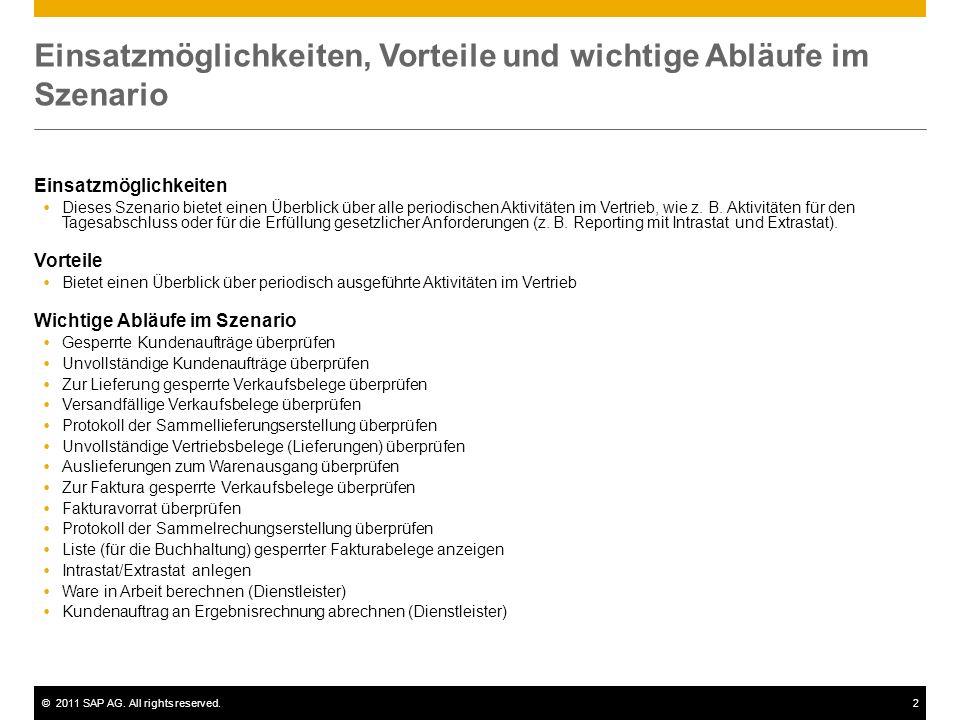 ©2011 SAP AG. All rights reserved.2 Einsatzmöglichkeiten, Vorteile und wichtige Abläufe im Szenario Einsatzmöglichkeiten Dieses Szenario bietet einen