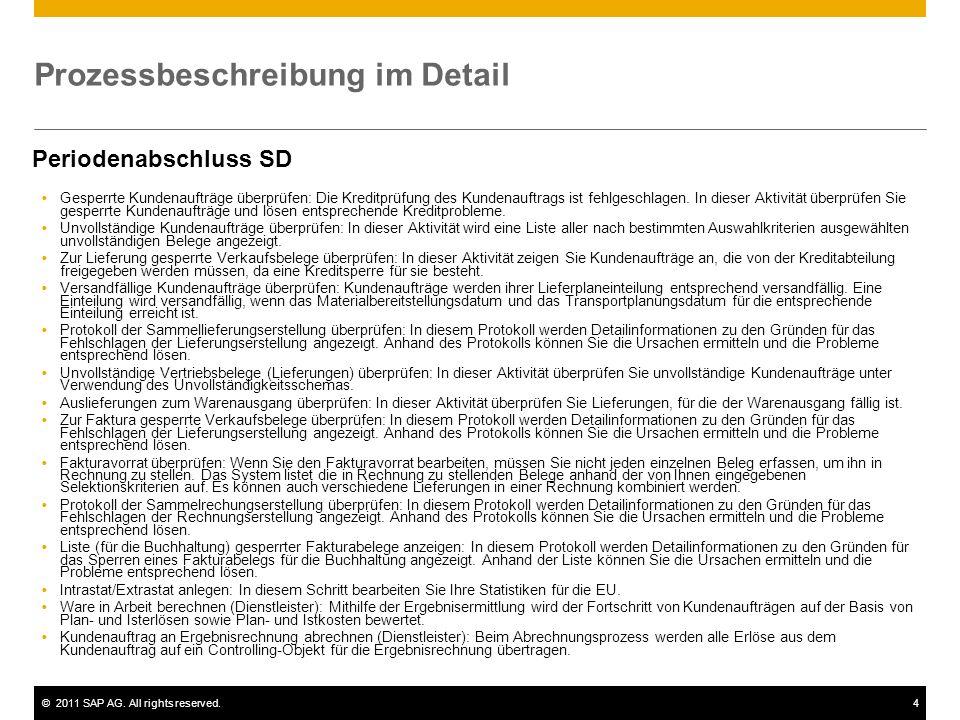 ©2011 SAP AG. All rights reserved.4 Prozessbeschreibung im Detail Periodenabschluss SD Gesperrte Kundenaufträge überprüfen: Die Kreditprüfung des Kund