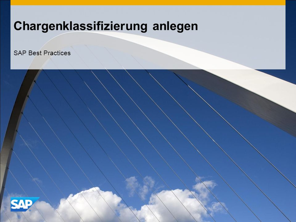 Chargenklassifizierung anlegen SAP Best Practices