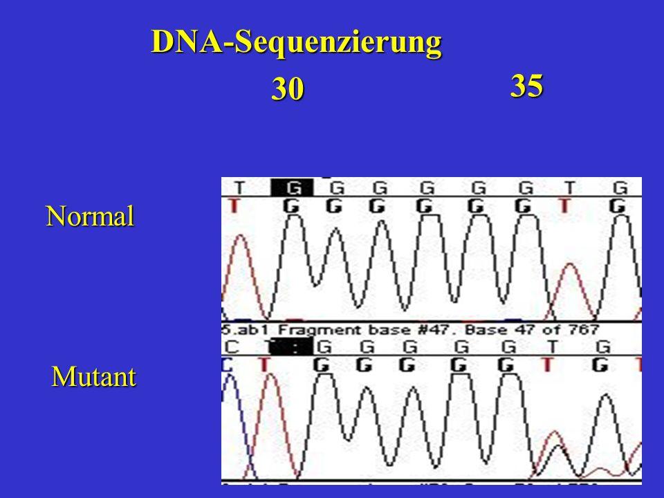 Normal Mutant 30 35 DNA-Sequenzierung