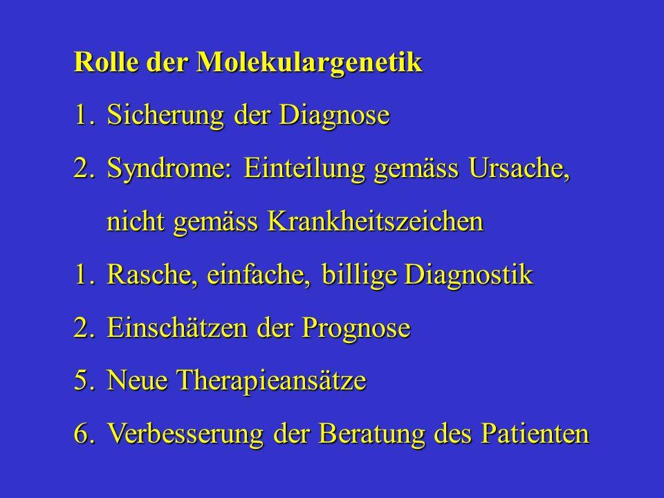 Rolle der Molekulargenetik 1.Sicherung der Diagnose 2.Syndrome: Einteilung gemäss Ursache, nicht gemäss Krankheitszeichen 1.Rasche, einfache, billige