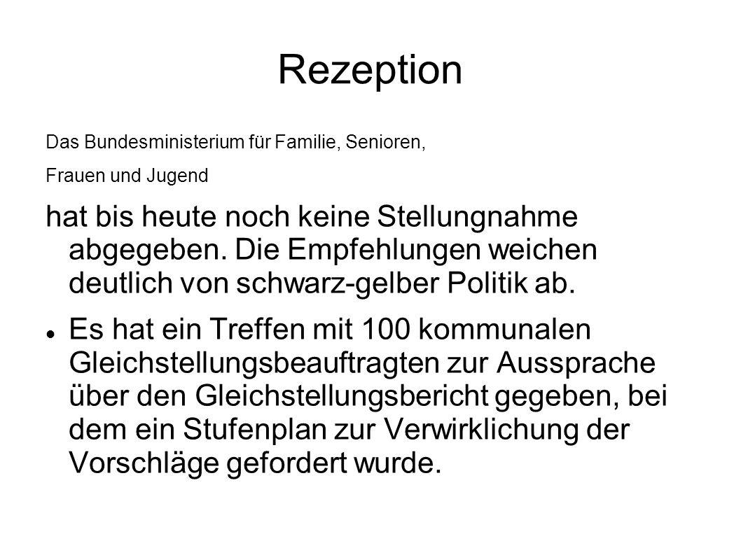 Rezeption Das Bundesministerium für Familie, Senioren, Frauen und Jugend hat bis heute noch keine Stellungnahme abgegeben. Die Empfehlungen weichen de