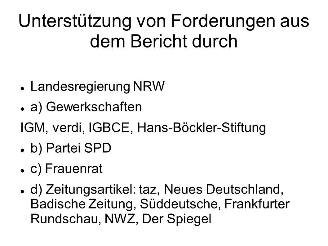 Unterstützung von Forderungen aus dem Bericht durch Landesregierung NRW a) Gewerkschaften IGM, verdi, IGBCE, Hans-Böckler-Stiftung b) Partei SPD c) Fr