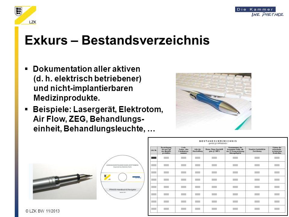 Exkurs – Bestandsverzeichnis Dokumentation aller aktiven (d. h. elektrisch betriebener) und nicht-implantierbaren Medizinprodukte. Beispiele: Laserger