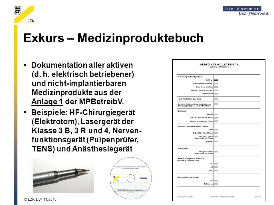 Exkurs – Medizinproduktebuch Dokumentation aller aktiven (d. h. elektrisch betriebener) und nicht-implantierbaren Medizinprodukte aus der Anlage 1 der