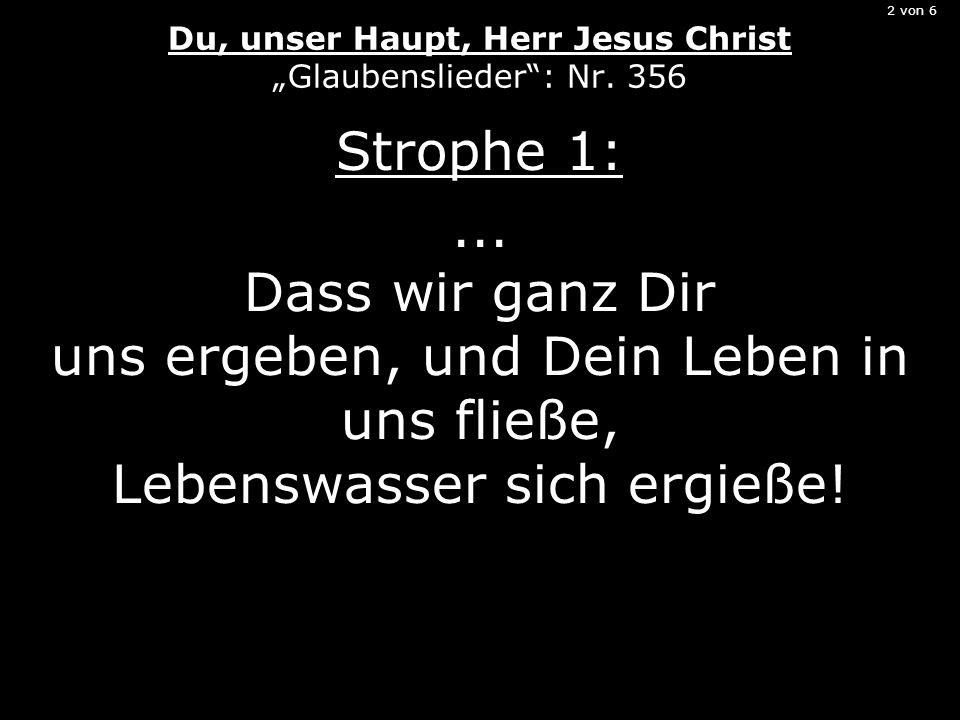 2 von 6 Du, unser Haupt, Herr Jesus Christ Glaubenslieder: Nr. 356 Strophe 1:... Dass wir ganz Dir uns ergeben, und Dein Leben in uns fließe, Lebenswa