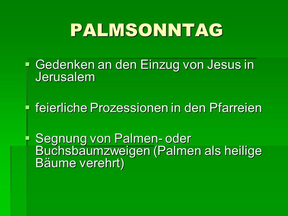 PALMSONNTAG Gedenken an den Einzug von Jesus in Jerusalem Gedenken an den Einzug von Jesus in Jerusalem feierliche Prozessionen in den Pfarreien feier