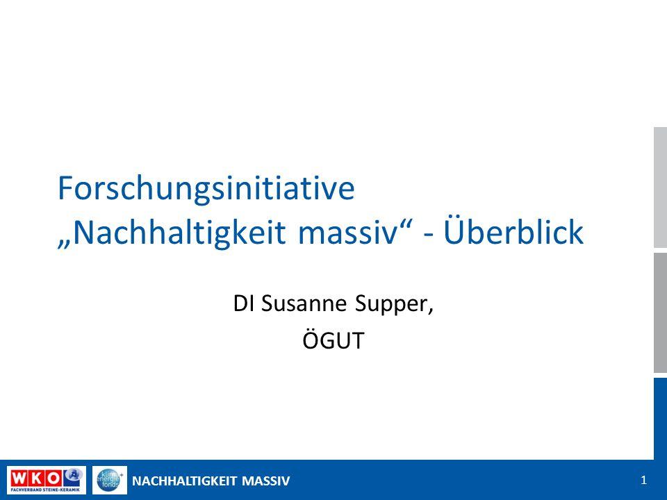 NACHHALTIGKEIT MASSIV 1 Forschungsinitiative Nachhaltigkeit massiv - Überblick DI Susanne Supper, ÖGUT