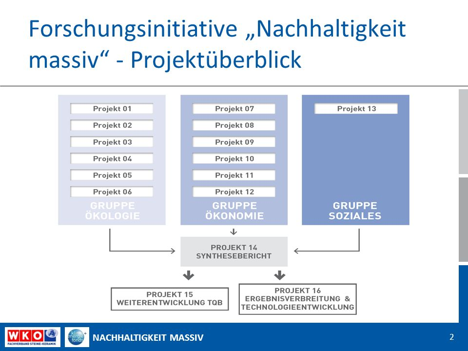 NACHHALTIGKEIT MASSIV Forschungsinitiative Nachhaltigkeit massiv - Projektüberblick 2