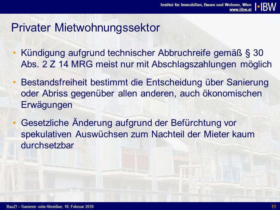Institut für Immobilien, Bauen und Wohnen, Wien www.iibw.at BauZ! – Sanieren oder Abreißen, 18. Februar 2010 11 Privater Mietwohnungssektor Kündigung