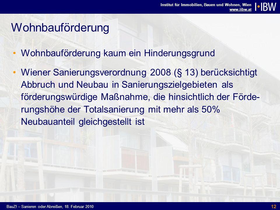 Institut für Immobilien, Bauen und Wohnen, Wien www.iibw.at BauZ! – Sanieren oder Abreißen, 18. Februar 2010 12 Wohnbauförderung Wohnbauförderung kaum