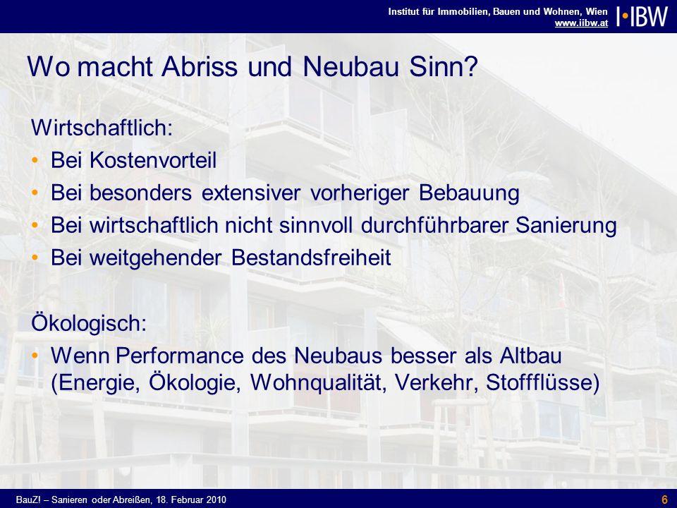 Institut für Immobilien, Bauen und Wohnen, Wien www.iibw.at BauZ! – Sanieren oder Abreißen, 18. Februar 2010 6 Wo macht Abriss und Neubau Sinn? Wirtsc