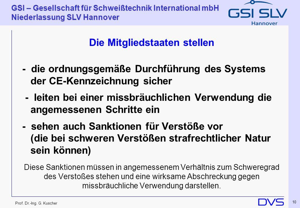 Prof. Dr.-Ing. G. Kuscher GSI – Gesellschaft für Schweißtechnik International mbH Niederlassung SLV Hannover 10 Die Mitgliedstaaten stellen - die ordn