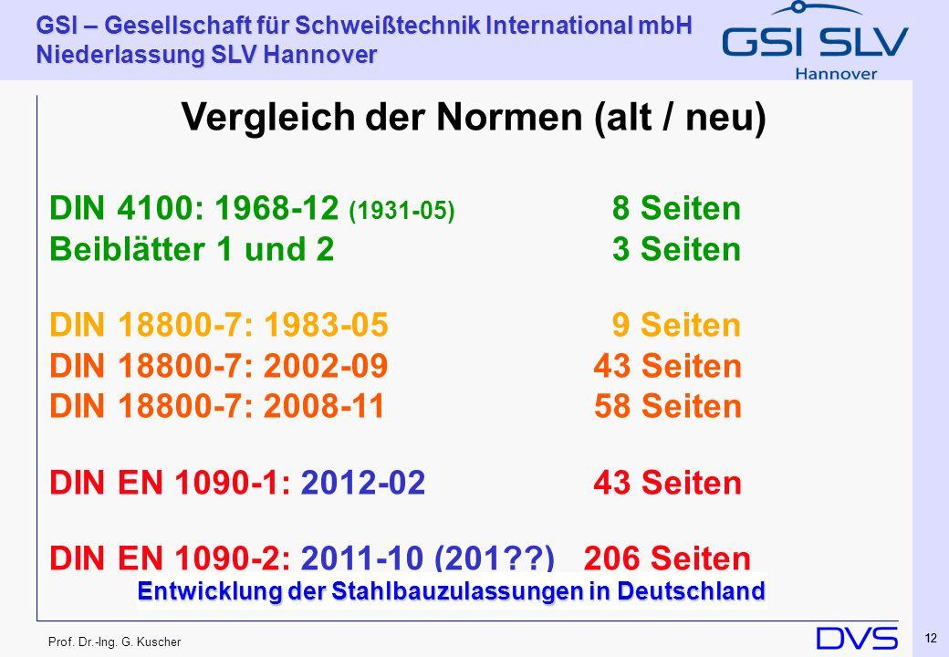 Prof. Dr.-Ing. G. Kuscher GSI – Gesellschaft für Schweißtechnik International mbH Niederlassung SLV Hannover 12 Vergleich der Normen (alt / neu) DIN 4