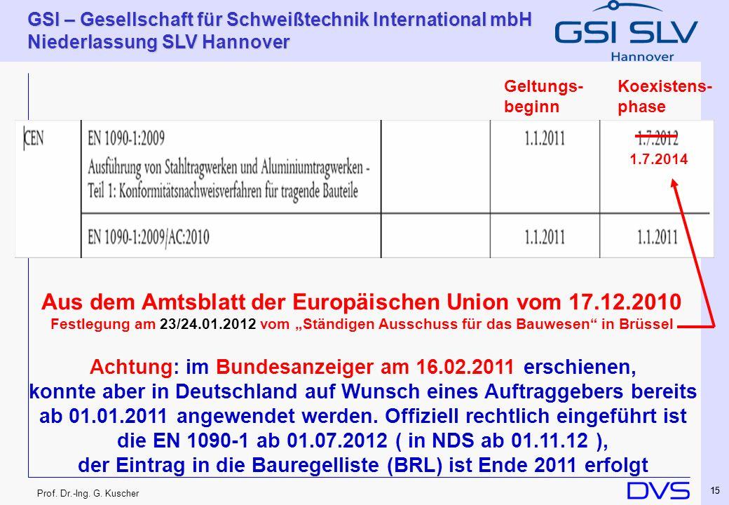 Prof. Dr.-Ing. G. Kuscher GSI – Gesellschaft für Schweißtechnik International mbH Niederlassung SLV Hannover 15 Koexistens- phase Geltungs- beginn Aus
