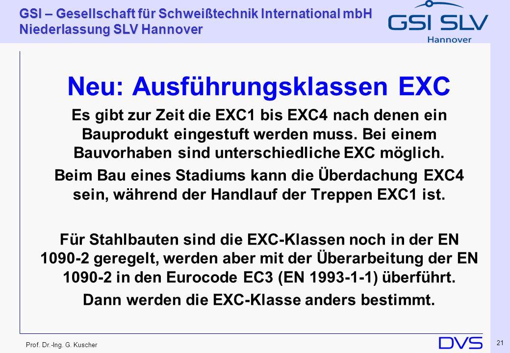 Prof. Dr.-Ing. G. Kuscher GSI – Gesellschaft für Schweißtechnik International mbH Niederlassung SLV Hannover 21 Neu: Ausführungsklassen EXC Es gibt zu