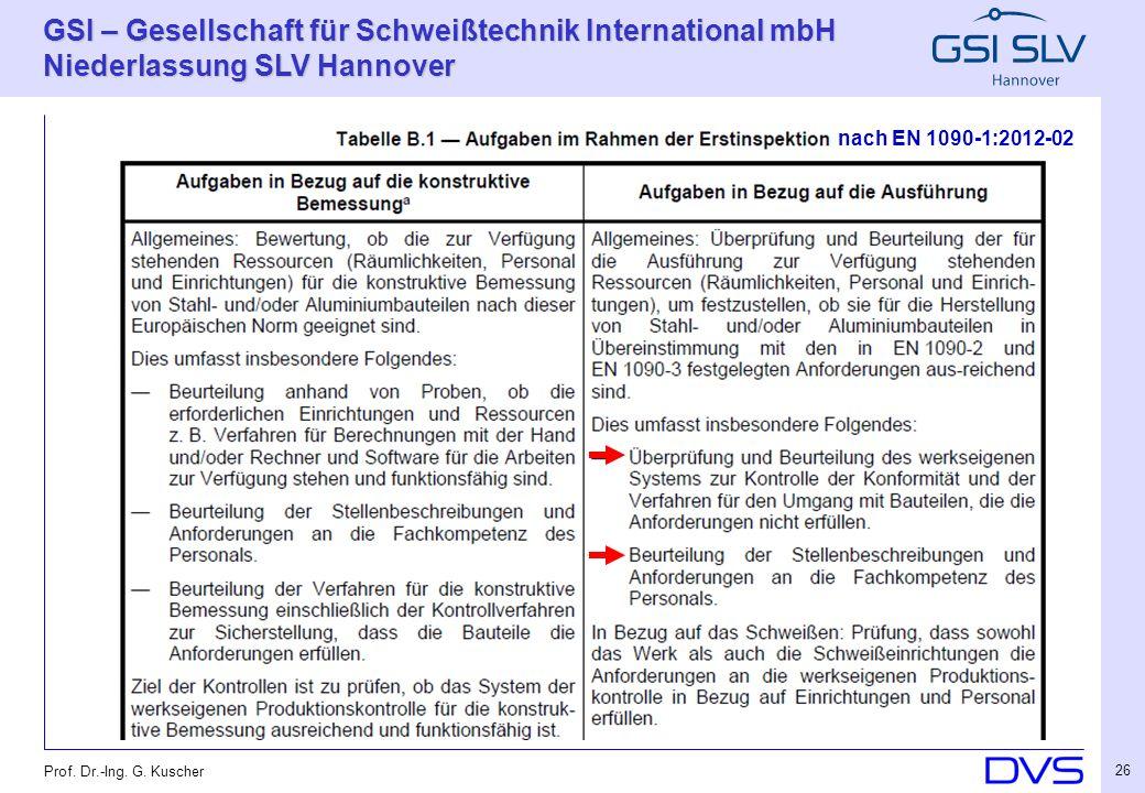 GSI – Gesellschaft für Schweißtechnik International mbH Niederlassung SLV Hannover 26 Prof. Dr.-Ing. G. Kuscher nach EN 1090-1:2012-02
