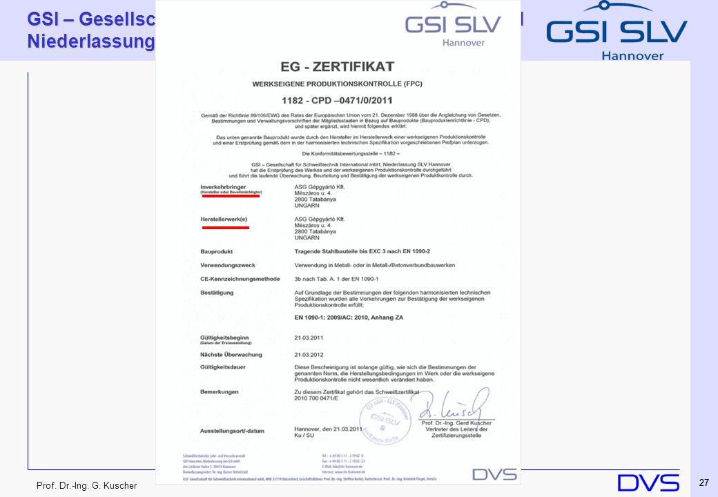 Prof. Dr.-Ing. G. Kuscher GSI – Gesellschaft für Schweißtechnik International mbH Niederlassung SLV Hannover 27