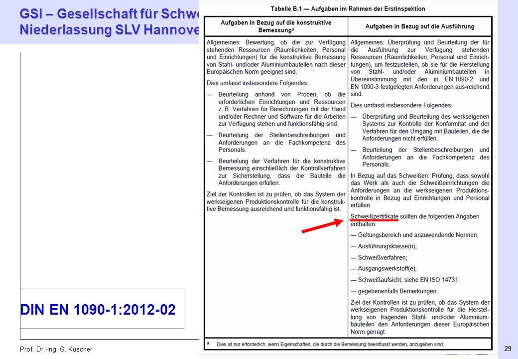 GSI – Gesellschaft für Schweißtechnik International mbH Niederlassung SLV Hannover 29 Prof. Dr.-Ing. G. Kuscher 29 DIN EN 1090-1:2012-02