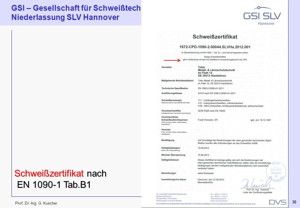 Prof. Dr.-Ing. G. Kuscher GSI – Gesellschaft für Schweißtechnik International mbH Niederlassung SLV Hannover 30 Schweißzertifikat nach EN 1090-1 Tab.B