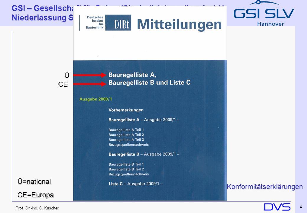 Prof. Dr.-Ing. G. Kuscher GSI – Gesellschaft für Schweißtechnik International mbH Niederlassung SLV Hannover 4 Ü CE Ü=national CE=Europa Konformitätse