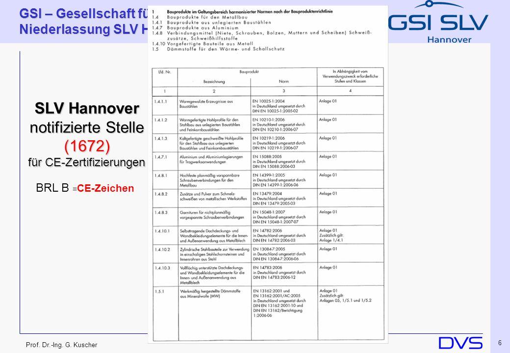 Prof. Dr.-Ing. G. Kuscher GSI – Gesellschaft für Schweißtechnik International mbH Niederlassung SLV Hannover 6 SLV Hannover notifizierte Stelle (1672)