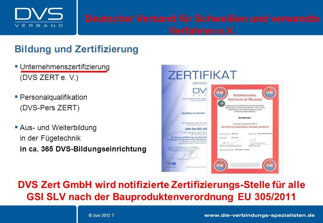 © Juni 2012 7 Unternehmenszertifizierung (DVS ZERT e. V.) Personalqualifikation (DVS-Pers ZERT) Aus- und Weiterbildung in der Fügetechnik in ca. 365 D