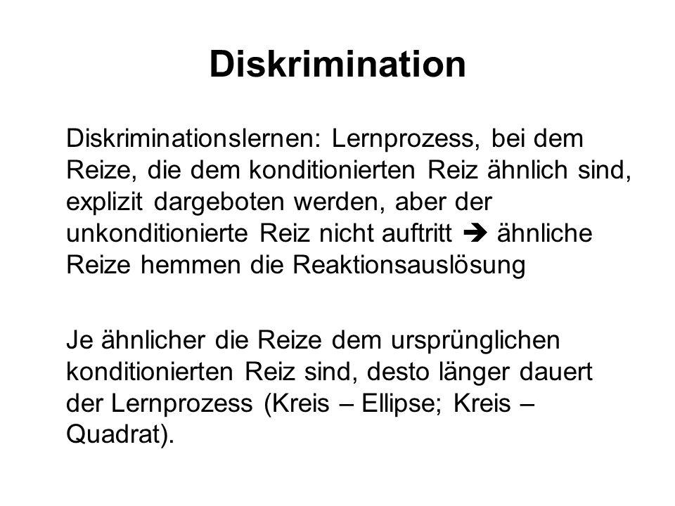 3. Generalisierung und Diskrimination Generalisierung: reaktionsauslösende Funktion geht ohne weiteren Lernprozess auf ähnliche Reize über -abnehmende