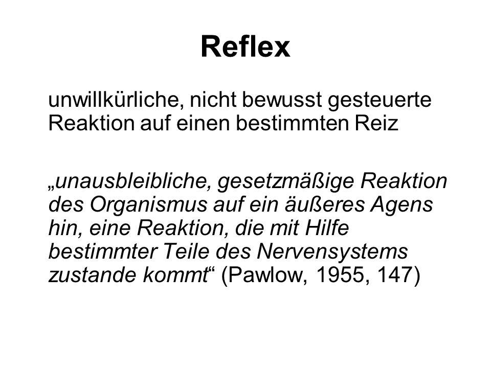 1. Grundprinzip des Klassischen Konditionierens Reflex Unkonditionierter Reiz – unkonditionierte Reaktion Konditionierter Reiz – Konditionierte Reakti