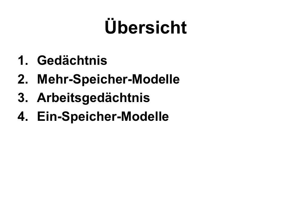 Übersicht 1.Gedächtnis 2.Mehr-Speicher-Modelle 3.Arbeitsgedächtnis 4.Ein-Speicher-Modelle