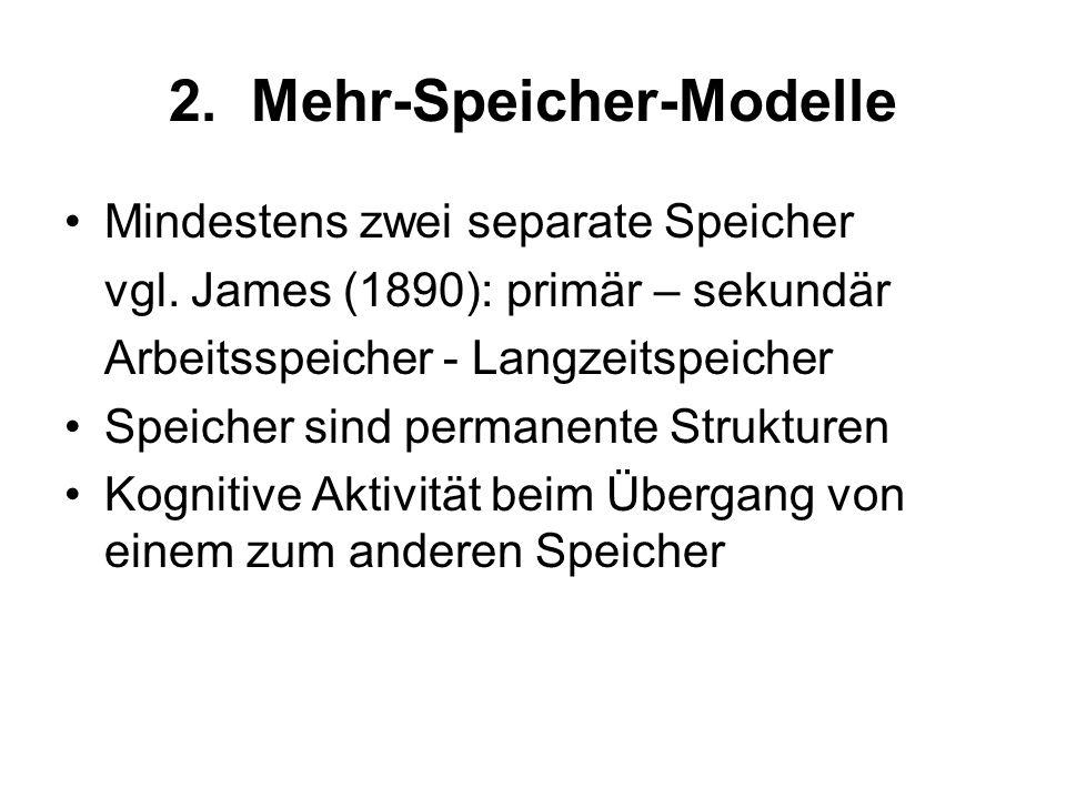 2. Mehr-Speicher-Modelle Sensorisches Register Arbeitsspeicher Langzeitspeicher ACT-Modell