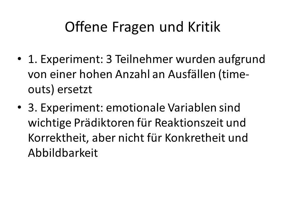 Offene Fragen und Kritik 1.