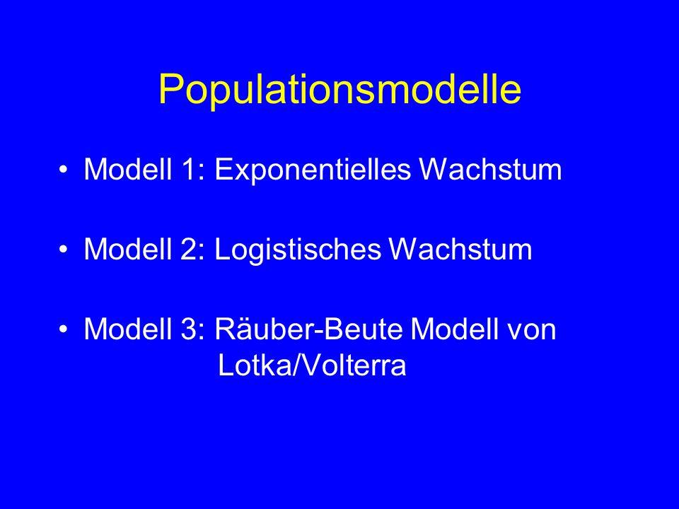 Populationsmodelle Modell 1: Exponentielles Wachstum Modell 2: Logistisches Wachstum Modell 3: Räuber-Beute Modell von Lotka/Volterra