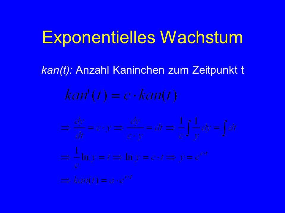 Exponentielles Wachstum kan(t): Anzahl Kaninchen zum Zeitpunkt t