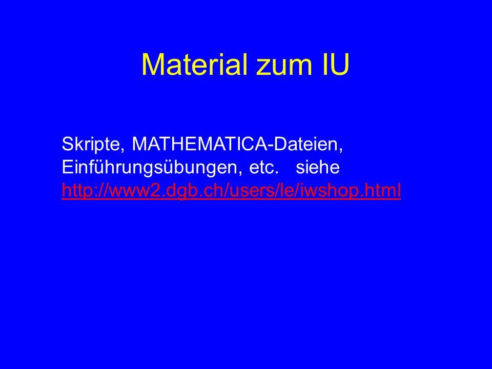 Material zum IU Skripte, MATHEMATICA-Dateien, Einführungsübungen, etc.