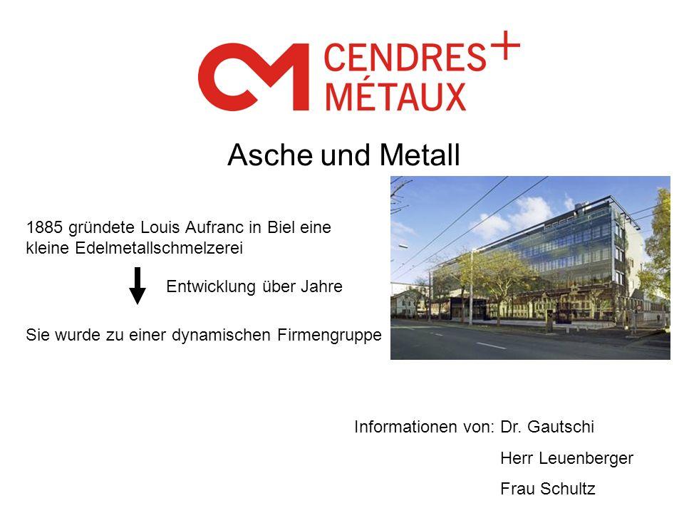 Asche und Metall 1885 gründete Louis Aufranc in Biel eine kleine Edelmetallschmelzerei Entwicklung über Jahre Sie wurde zu einer dynamischen Firmengru
