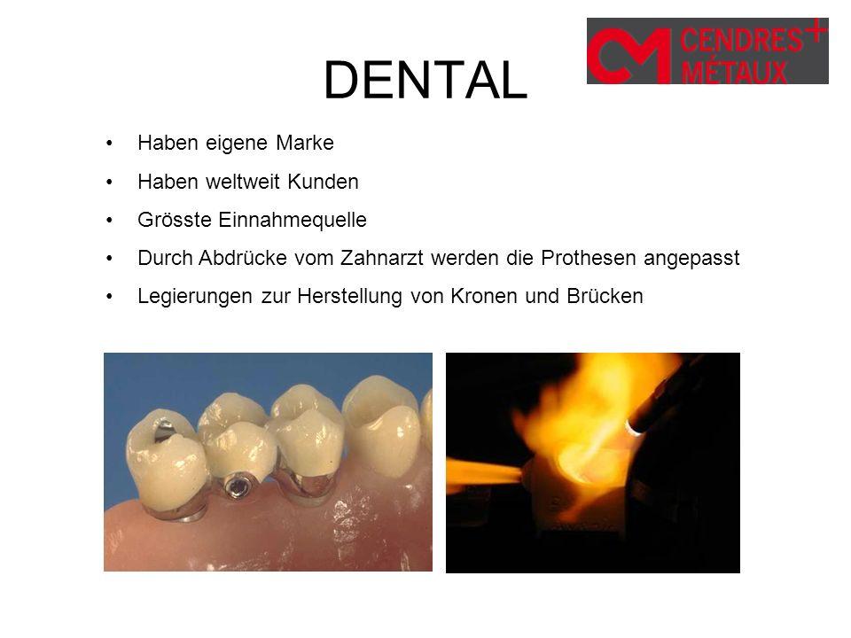 DENTAL Haben eigene Marke Haben weltweit Kunden Grösste Einnahmequelle Durch Abdrücke vom Zahnarzt werden die Prothesen angepasst Legierungen zur Hers