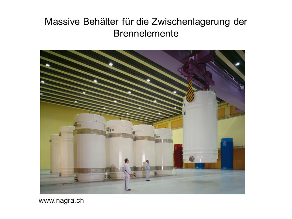 Massive Behälter für die Zwischenlagerung der Brennelemente www.nagra.ch