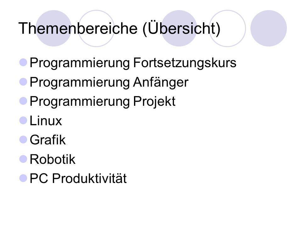 Themenbereiche (Übersicht) Programmierung Fortsetzungskurs Programmierung Anfänger Programmierung Projekt Linux Grafik Robotik PC Produktivität