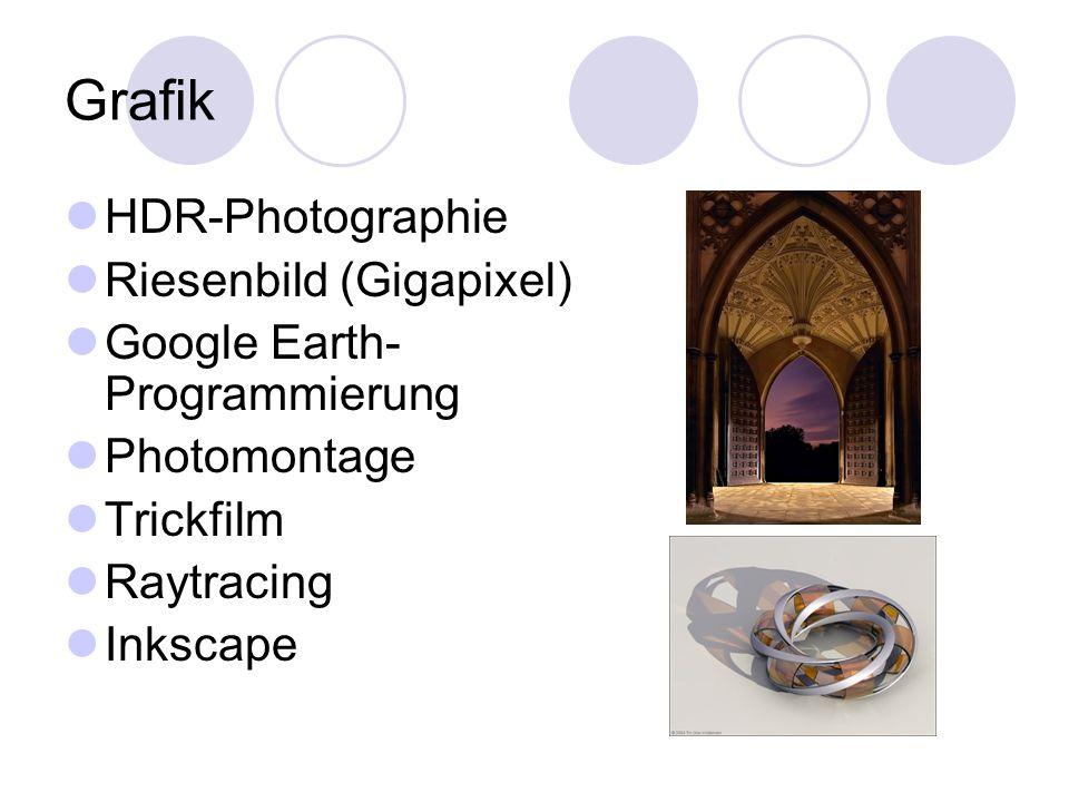 Grafik HDR-Photographie Riesenbild (Gigapixel) Google Earth- Programmierung Photomontage Trickfilm Raytracing Inkscape