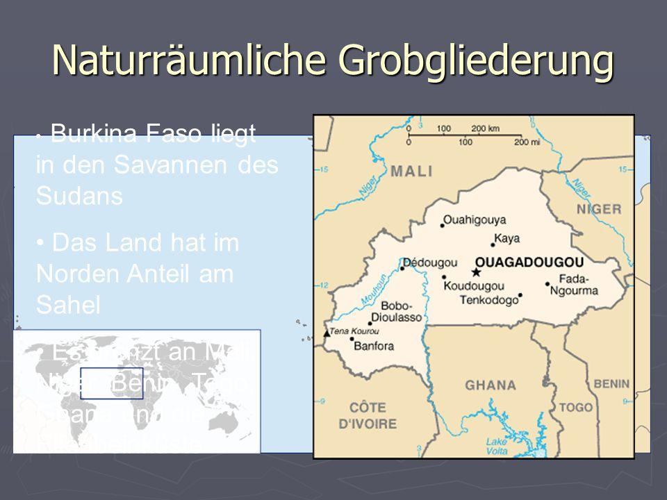 Naturräumliche Grobgliederung Burkina Faso liegt in den Savannen des Sudans Das Land hat im Norden Anteil am Sahel Es grenzt an Mali, Niger, Benin, Togo, Ghana und die Elfenbeinküste