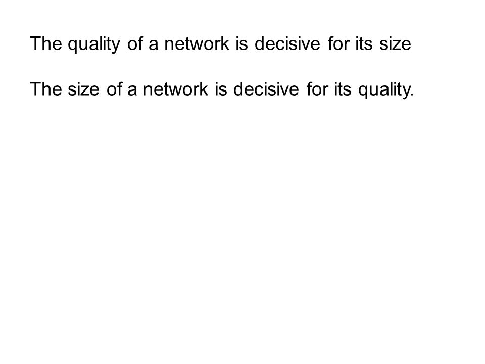 The quality of a network is decisive for its size The size of a network is decisive for its quality.