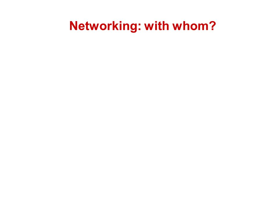 Networking: with whom