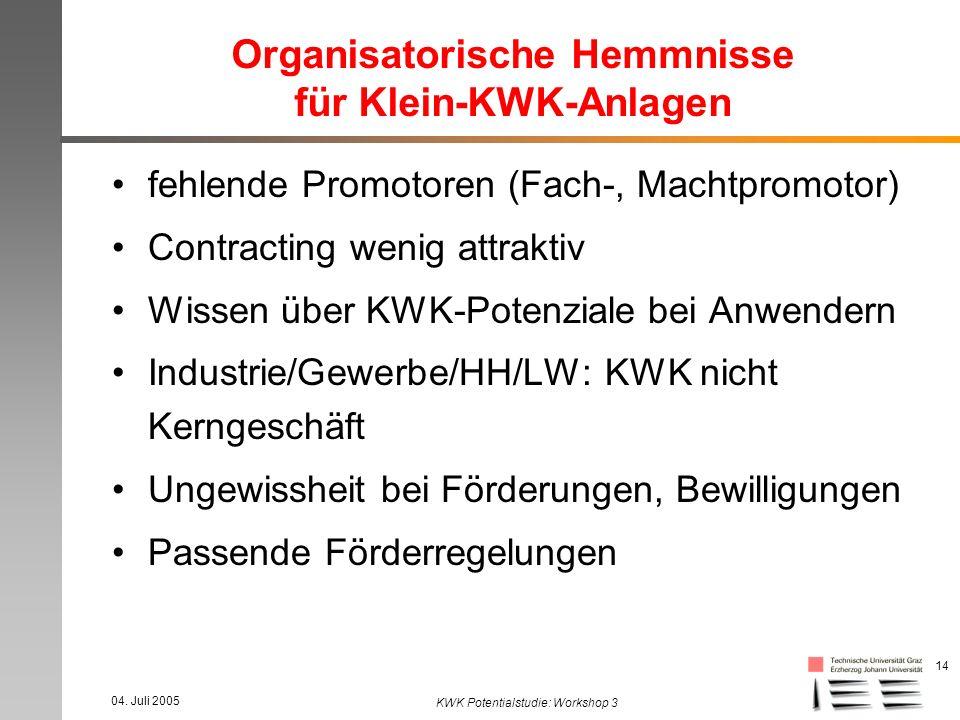 04. Juli 2005 KWK Potentialstudie: Workshop 3 14 Organisatorische Hemmnisse für Klein-KWK-Anlagen fehlende Promotoren (Fach-, Machtpromotor) Contracti