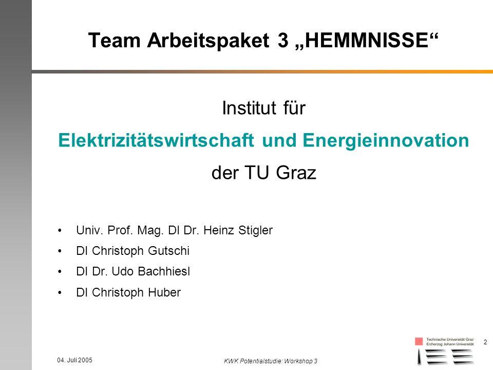 04. Juli 2005 KWK Potentialstudie: Workshop 3 2 Team Arbeitspaket 3 HEMMNISSE Institut für Elektrizitätswirtschaft und Energieinnovation der TU Graz U