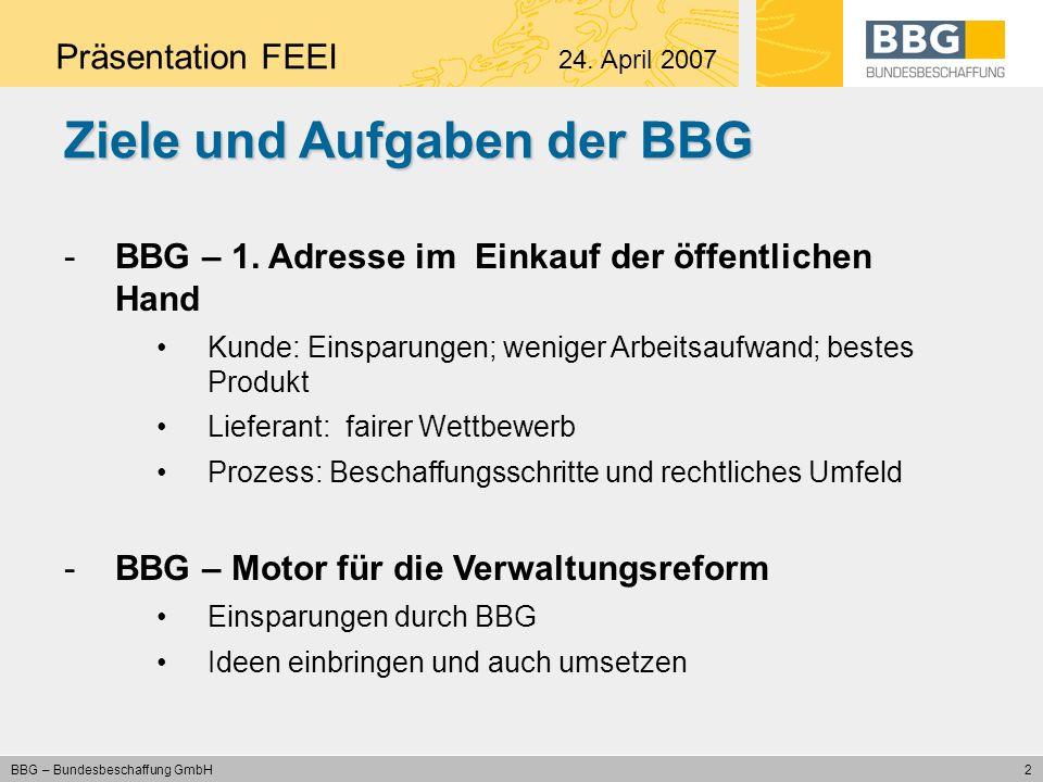3 BBG – Bundesbeschaffung GmbH BBG als Bindeglied zwischen Kunden und Lieferanten Präsentation FEEI 24.