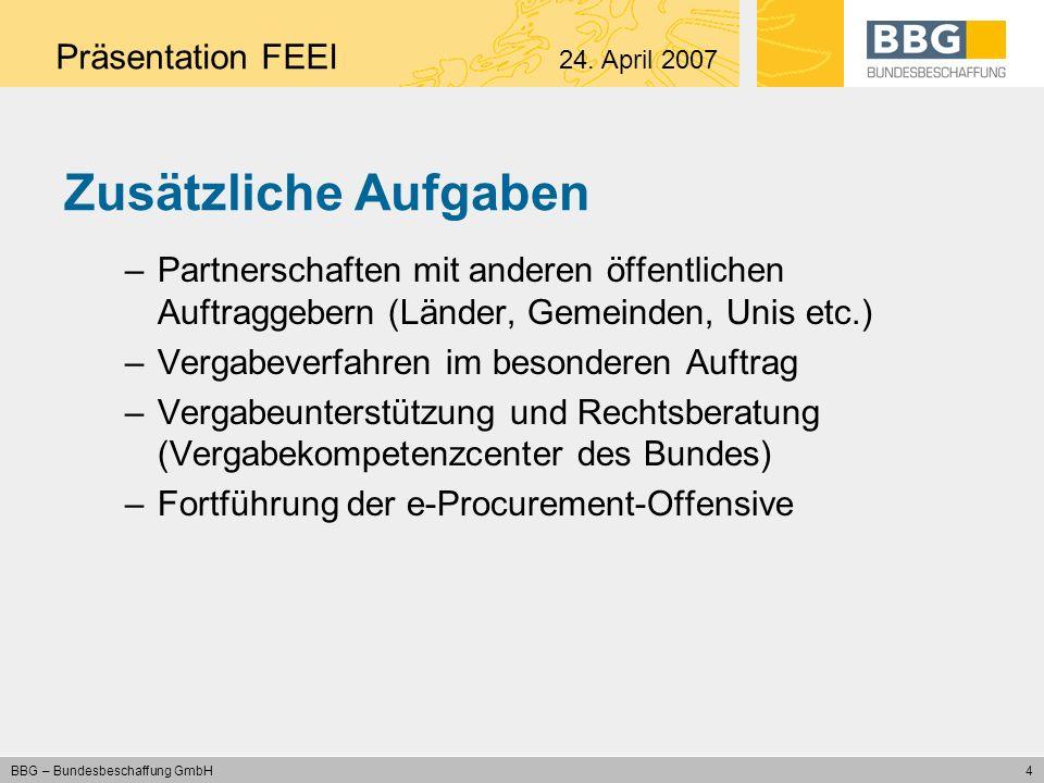 5 BBG – Bundesbeschaffung GmbH Nutzen für alle öffentlichen Auftraggeber Teilnahme an einem großen Beschaffungsmarkt (Volumen 720 Mio.) –optimale Konditionen (Einsparungen: 14,5 %) –jederzeitige Verfügbarkeit von Waren und Dienstleistungen Kein eigenes Ausschreibungsverfahren –Verringerung der Prozesskosten –Kein Vergaberisiko, Revisionssicherheit –Standardisierte, regelmäßige Verfahren Präsentation FEEI 24.